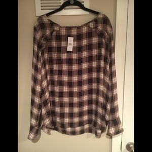 Loft Factory XL sheer plaid shirt NWT